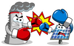 Cooling tower photovoltaic panel fighting boxing Stock Photo