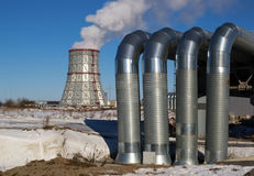 Cooling tower and piping CHP Stock Images