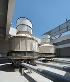 Cooling Tower on a Rooftop - Air Conditioning Systems Royalty Free Stock Images