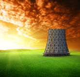 Cooling tower at sunset Stock Photo