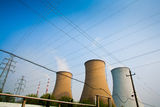 Cooling tower. Of the thermal power plant and Wire Royalty Free Stock Photos