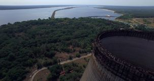 Cooling tower unfinished srade of the Chernobyl nuclear power plant (Aerial)