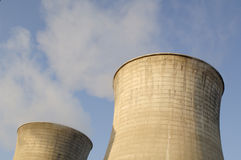 Cooling towers. At a power station stock photography