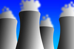 Cooling towers. With rising water vapor (as used by power plants Royalty Free Stock Photos