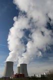 Cooling towers. Nuclear power plant - cooling towers Royalty Free Stock Photos