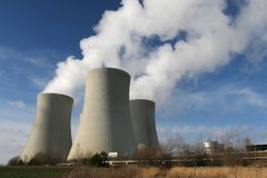 Cooling towers. Nuclear power plant - big cooling towers stock photos