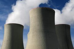 Cooling towers. In power plant stock photography