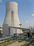 Cooling Towers. Close up view of the cooling tower of a coal fired clean energy power plant Stock Image