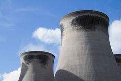 Cooling towers. From a coal fired power station stock photography