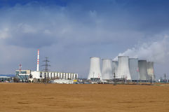 Cooling towers. Of nuclear power station before the storm Royalty Free Stock Photos