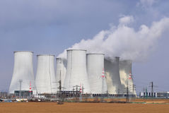 Cooling towers. Of nuclear power station before the storm Stock Photography