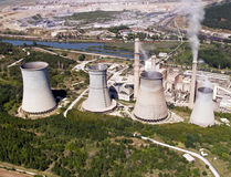 Cooling towers, aerial view. Cooling towers of power plant, aerial view stock photography