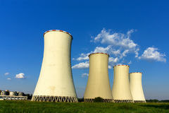 Cooling-towers and blue sky. Detail of cooling-towers and blue sky Stock Photography