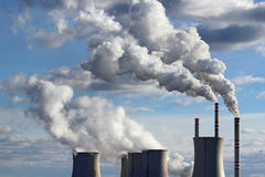 Cooling towers of coal power plant Stock Images