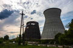 Cooling towers of the cogeneration plant in Kyiv, Ukraine Stock Images