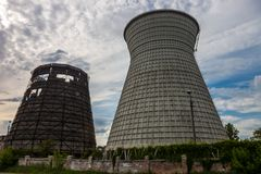 Cooling towers of the cogeneration plant in Kyiv, Ukraine Stock Photography