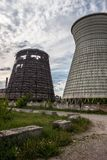 Cooling towers of the cogeneration plant in Kyiv, Ukraine Stock Photos
