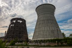 Cooling towers of the cogeneration plant in Kyiv, Ukraine Stock Image