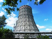 Cooling towers for cooling water. Industrial plants in power plants.  Details and close-up. stock photos