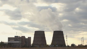 Cooling towers of an energy station stock footage