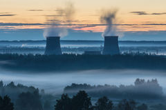 Landscape in Lavriki. The cooling towers of thermal power station Stock Images