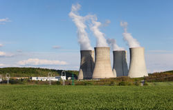 Cooling towers of nuclear atomic power plant Stock Images