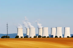 Cooling towers of nuclear atomic power plant Royalty Free Stock Image