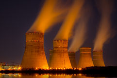 Cooling towers of nuclear power generation plan. The cooling towers at night of the nuclear power generation plant stock photography