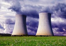 Cooling towers of a nuclear power plant. Royalty Free Stock Photography