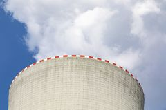 Cooling towers of nuclear power plant. With cloudy skyn stock photography