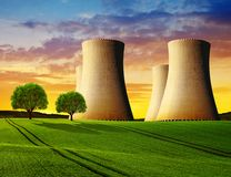 Cooling towers of a nuclear power plant. Stock Images