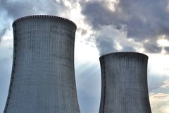 Cooling towers at nuclear power plant Royalty Free Stock Image