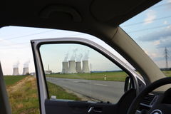 Cooling towers at nuclear power plant Royalty Free Stock Photo