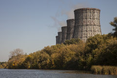 Cooling towers of nuclear power plant Royalty Free Stock Images