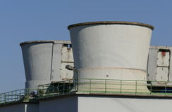 Cooling towers. Old Cooling towers in a industry area royalty free stock photography