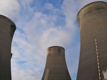 Cooling towers in a power station Stock Photo