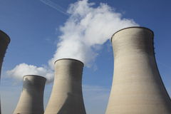 COOLING TOWERS, POWER STATION. Three Cooling Towers at a coal-fired power station royalty free stock photos