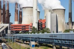 Cooling towers and smokestacks coal fired power plant in Germany royalty free stock photos