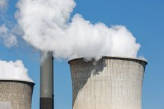 Cooling towers and smokestacks coal fired power plant in Germany stock photos