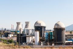 Cooling towers and storage tanks Stock Image