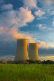 Cooling Towers at Sunset Royalty Free Stock Image