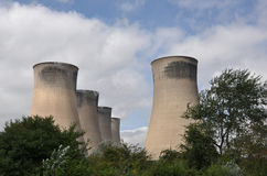Cooling Towers and Trees Royalty Free Stock Photos