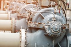 Cooling. Water pumps on petrochemical plant Stock Image
