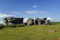 Coombestone-Felsen auf Dartmoor Stockbild