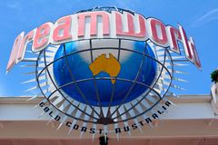 Sign at the entrance to Dreamworld theme park in Australia. Coomera, Queensland, Australia - January 9, 2018. Sign at the entrance to Dreamworld theme park royalty free stock images