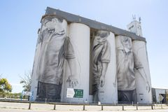 Coonalpyn Silo Mural, South Australia. Coonalpyn, South Australia, Australia - December 16, 2017: 30 metre high Silo Mural by Guido van Helten in February 2017 royalty free stock images