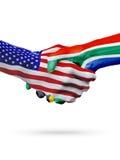 Coopération de concept de drapeaux des Etats-Unis et de l'Afrique du Sud, affaires, compétition sportive Photo stock