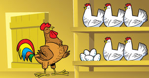 Coop. The illustration shows the hens and a rooster on the farm Stock Photography