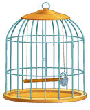 Coop for birds. The lock hangs Royalty Free Stock Images