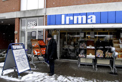 COOP CLOSED 20 GROCERY STORES. Copenhagen-Denamrk _Coop closed three grocery store chains ,Irma selling 50 clousure sale and Fakta and brugersen in Denmark due Royalty Free Stock Photo